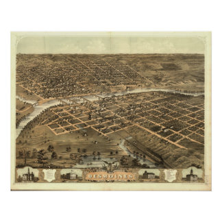 Des Moines Iowa 1868 Antique Panoramic Map Posters