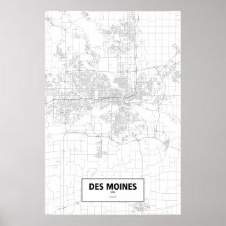 Des Moines, Iowa (black on white) Poster