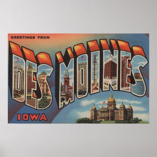 Des Moines, Iowa (Capital Building) Poster