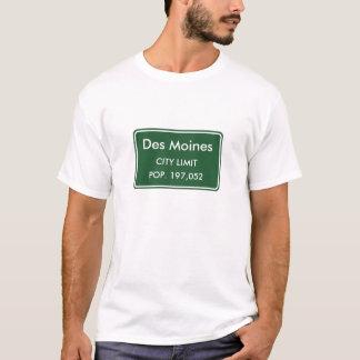 Des Moines Iowa City Limit Sign T-Shirt