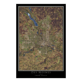 Des Moines Iowa From Space Satellite Art Poster