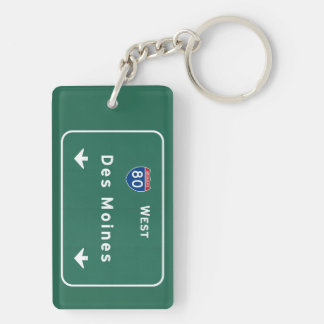 Des Moines Iowa ia Interstate Highway Freeway : Double-Sided Rectangular Acrylic Keychain