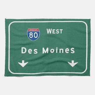 Des Moines Iowa ia Interstate Highway Freeway : Kitchen Towel