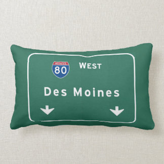 Des Moines Iowa ia Interstate Highway Freeway : Lumbar Pillow