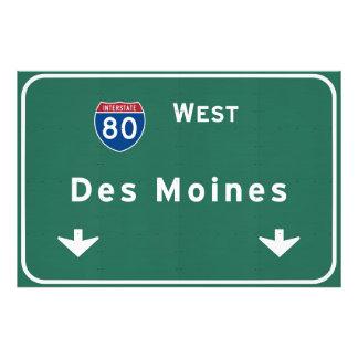 Des Moines Iowa ia Interstate Highway Freeway : Photo Print