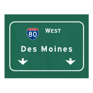 Des Moines Iowa ia Interstate Highway Freeway : Postcard