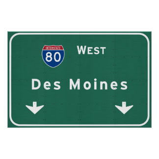 Des Moines Iowa ia Interstate Highway Freeway : Poster
