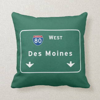 Des Moines Iowa ia Interstate Highway Freeway : Throw Pillow