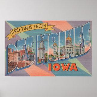 Des Moines, Iowa - Large Letter Scenes 3 Print