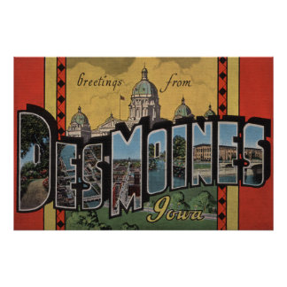 Des Moines, Iowa - Large Letter Scenes Print