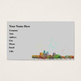 DES MOINES IOWA SKYLINE BUSINESS CARD