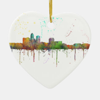DES MOINES IOWA SKYLINE CERAMIC ORNAMENT
