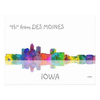DES MOINES, IOWA SKYLINE - Postcards