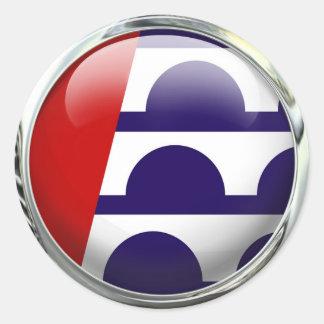Des Moines Iowa State Flag Round Glass Ball Classic Round Sticker