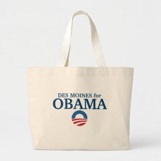 DES MOINES para el personalizado de Obama su ciuda Bolsa Tela Grande