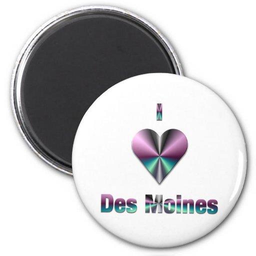 Des Moines -- Purple & Turquoise Fridge Magnet