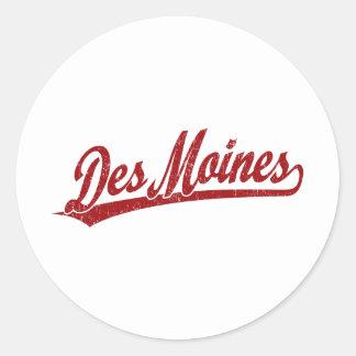 Des Moines script logo in red Classic Round Sticker