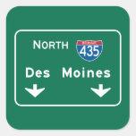 Des Moines, señal de tráfico de IA Pegatina Cuadrada