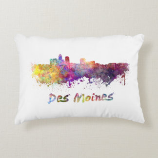 DES Moines skyline in watercolor Decorative Pillow