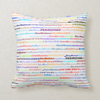 Des Moines Text Design II Throw Pillow
