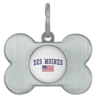 Des Moines US Flag Pet Name Tag