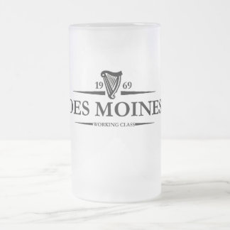 Des Moines Working Class Frosted Glass Beer Mug