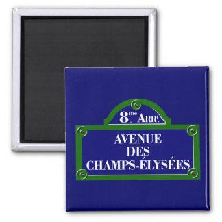 DES placa de calle de Champs-Elysees, París de la Imán Cuadrado