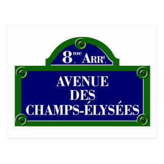 DES placa de calle de Champs-Elysees, París de la Tarjeta Postal