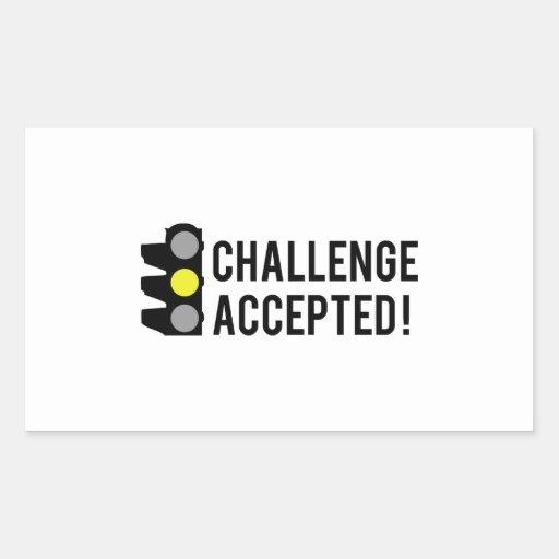 Desafío aceptado pegatina rectangular