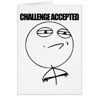 Desafío aceptado tarjeta de felicitación
