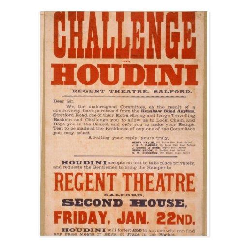 Desafío al teatro del vintage de Houdini Postales