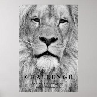 Desafío blanco negro de los ojos del león póster