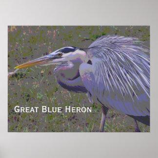 Desafío de la garza de gran azul impresiones