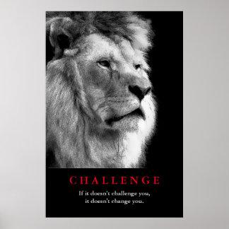 Desafío de motivación del león blanco negro póster