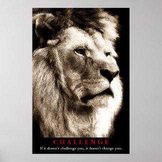 Desafío de motivación del león de la sepia póster