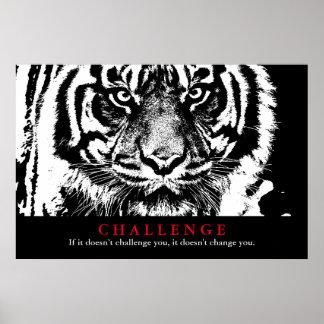Desafío de motivación del tigre negro y blanco póster