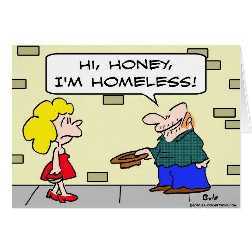 desamparados de la miel del panhandler hola tarjeta de felicitación