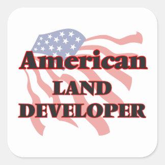 Desarrollador americano de la tierra pegatina cuadrada