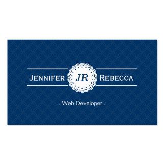 Desarrollador de Web - azul moderno del monograma Plantillas De Tarjetas De Visita