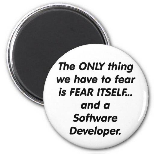 desarrollador softwar del miedo imán redondo 5 cm