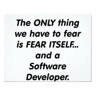 """desarrollador softwar del miedo invitación 4.25"""" x 5.5"""""""