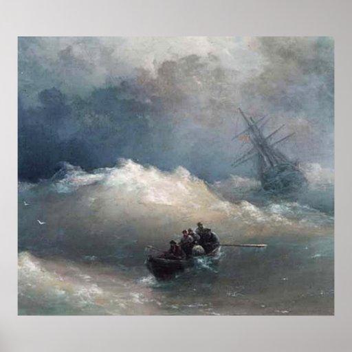 Desastre en la impresión del mar póster