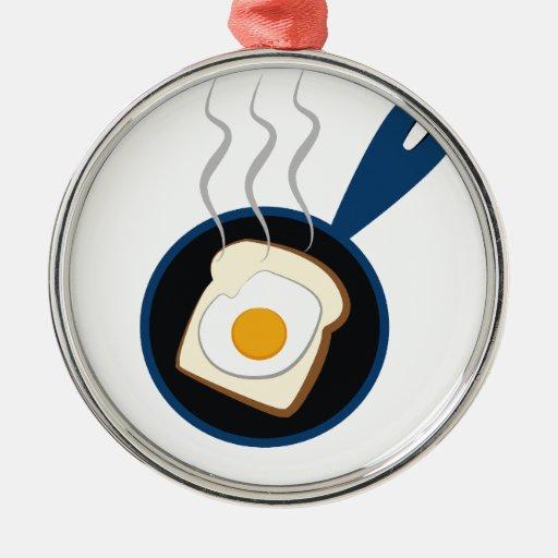 desayuno adorno navideño redondo de metal