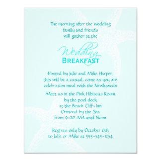 """Desayuno azul del boda de las estrellas de mar invitación 4.25"""" x 5.5"""""""