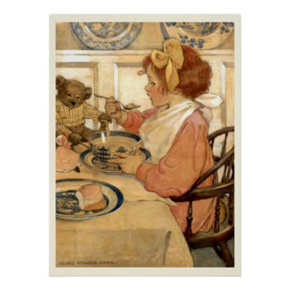 Desayuno con el oso de peluche posters