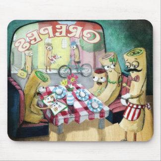 Desayuno con la familia de crepes alfombrillas de raton