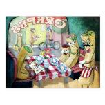 Desayuno con la familia de crepes tarjetas postales