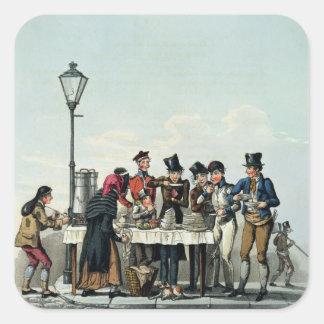 Desayuno de la calle grabado por G.Hunt, 1825 Calcomanías Cuadradass Personalizadas