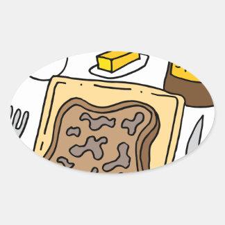 Desayuno de la tostada francesa pegatina ovalada
