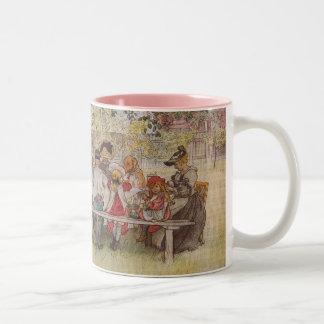 Desayuno debajo del abedul grande taza de dos tonos